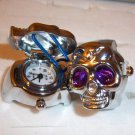 Silver Plated Skull Design Stretch Adjustable Ring Watch Purple Eyes