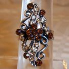 Antique Silver Plated Floral looking Brown Crystal Adjustable Ring