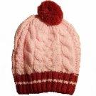 Hand Knit Beret Beanie Hat Newsboy Cap Burgundy &Pink
