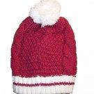Hand Knit  with Pompom on top Beret Beanie Hat Newsboy Cap Fuchsia