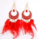 Red New Moon Looking with Feather / Plume Metal Hook Crystal Dangle Earrings Red