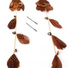 Feather Long Earrings can be separated into two pairs of earrings and Charm Hair Pins Borwn