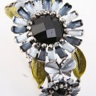 Antique Silver Tone Metal Stretch Fold-over Bracelet With Rhinestone