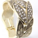 Leaves Looking Crystal Paved Antique Gold Tone Metal Fold Over Bracelet Cuff
