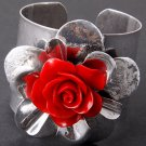 Duo Tone Rose Design Silver Tone Cuff Bracelet Red Rose
