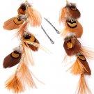 Feather / Plume Metal Hook Earrings Charms or Hair Pins Brown