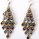 Peacock Tail Design Crystal Pave Antique Gold Silver Copper Tone Hook Earrings