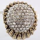 Crystal Paved Sunflower Looking Gold Plated Stretch Ring