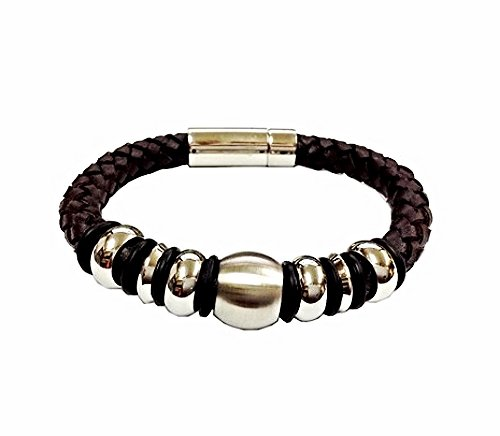 QBL14 Buzen-Classic Brown Braided Leather & Stainless Steel Beads Magnetic Brace