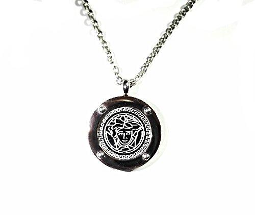 QP32G Stainless Steel Magnetic Medusa Greek Key Necklace