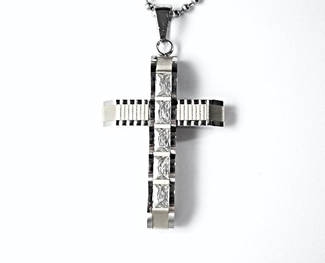 QC57S 5-Stone Cross Energy Pendant Necklace