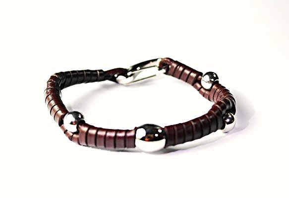 QBL26 Miyazaki Brown Woven Leather & Stainless Steel Beads Bracelet