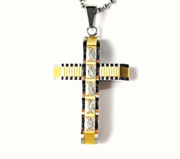 QC57G 5-Stone Cross Energy Pendant Necklace