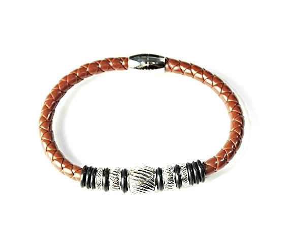QBL24 Nami Brown Braided Leather & Stainless Steel Magnetic Bracelet
