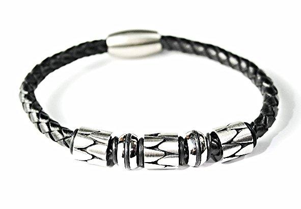 QBL21 Hioki Black Braided Leather & Stainless Steel Magnetic Bracelet