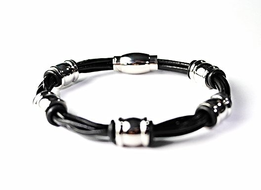 QBL27 Miyazu Black 4-Cord Leather & Stainless Steel Magnetic Bracelet