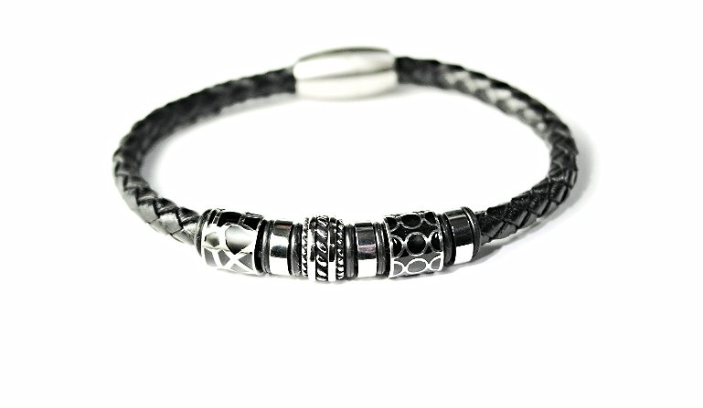 QBL22 Aira Black Braided Leather & Stainless Steel Magnetic Bracelet