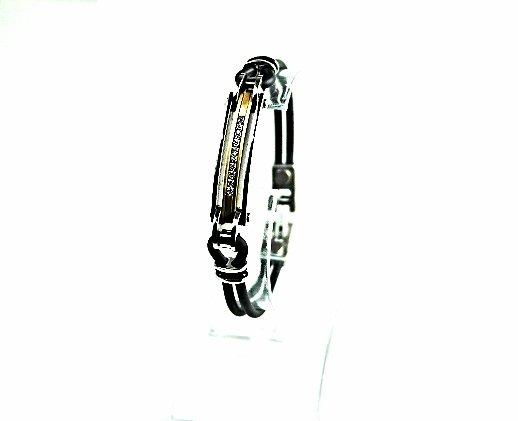 QB48 Dalimara Kasugai Double-cord Rubber & Stainless Steel Crystal Gold Bracelet