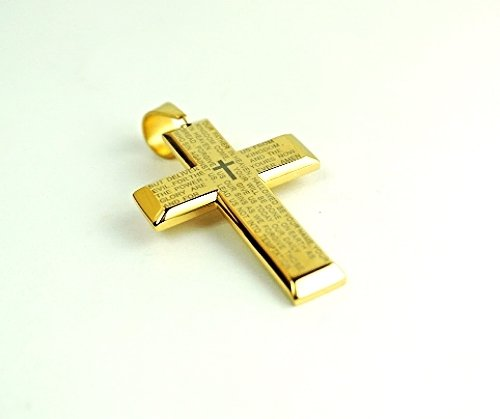 "QC46 Dalimara Quantum ""Our Father"" Prayer with Energy Cross Pendant Gold"
