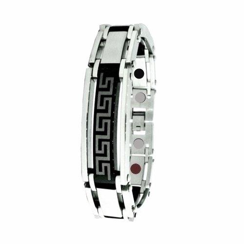 QB49 Dalimara Attica Quantum Stainless Steel Bracelet Greek Key 2-Tone