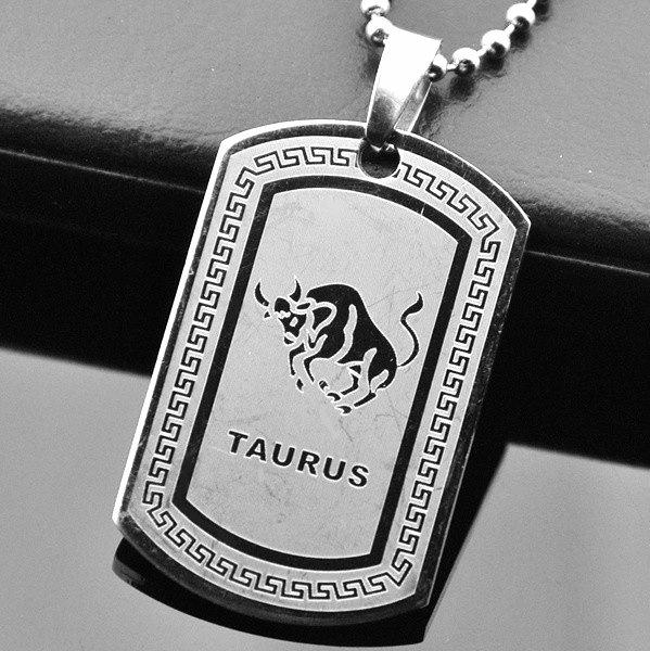QP34 Taurus Zodiac Quantum Pendant Dog Tag Stainless Steel
