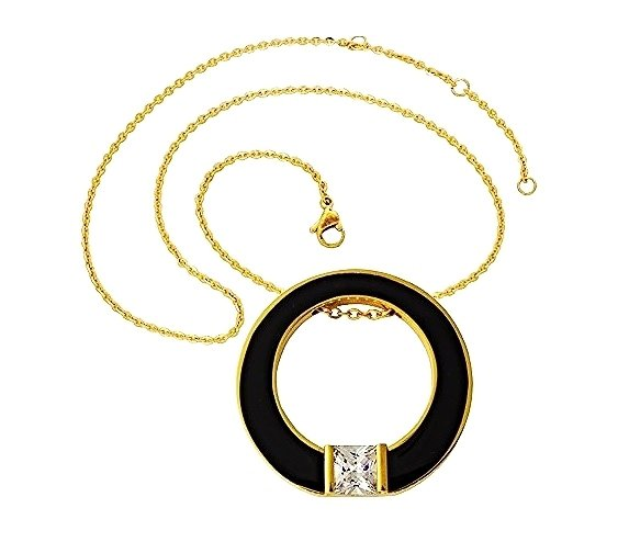 QP45 Circle of Life Black-Gold Energy Quantum Pendant Crystal