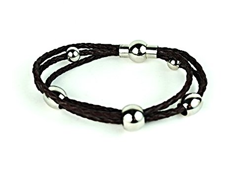 QBL1 Inzai Multi-Strand Leather & Stainless Steel Ball Magnetic Bracelet