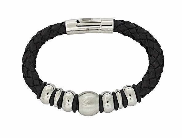 QBL12 Buzen-Classic Black Braided Leather & Stainless Steel Beads Magnetic Brace