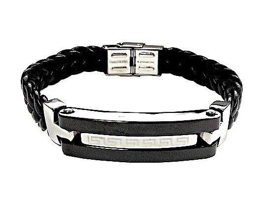 QBL20 Takahagi Black Braided Leather & Stainless Steel Magnetic Bracelet