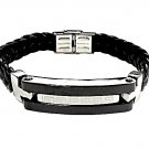 QBL20 Takahagi Black Braided Leather & Stainless Steel Magnetic Bracelet