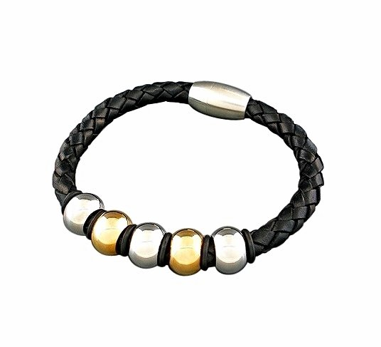 QBL17 Rumoi Black Braided Leather & 2-Tone Stainless Steel Magnetic Bracelet