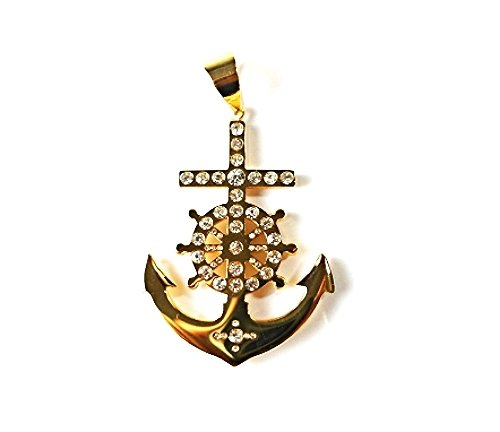 QP58 Anchor Gold Quantum Energy Nautical Symbol Pendant with Crystals