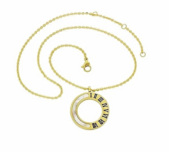 QP61 Circle of Life Mother-of-Pearl Gold Energy Quantum Pendant