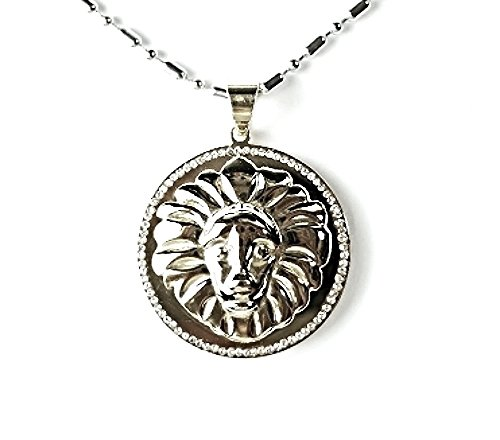 QP59 Lion Head Silver Quantum Energy Pendant with Crystals