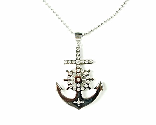 QP58 Anchor Classic Quantum Energy Nautical Symbol Pendant with Crystals