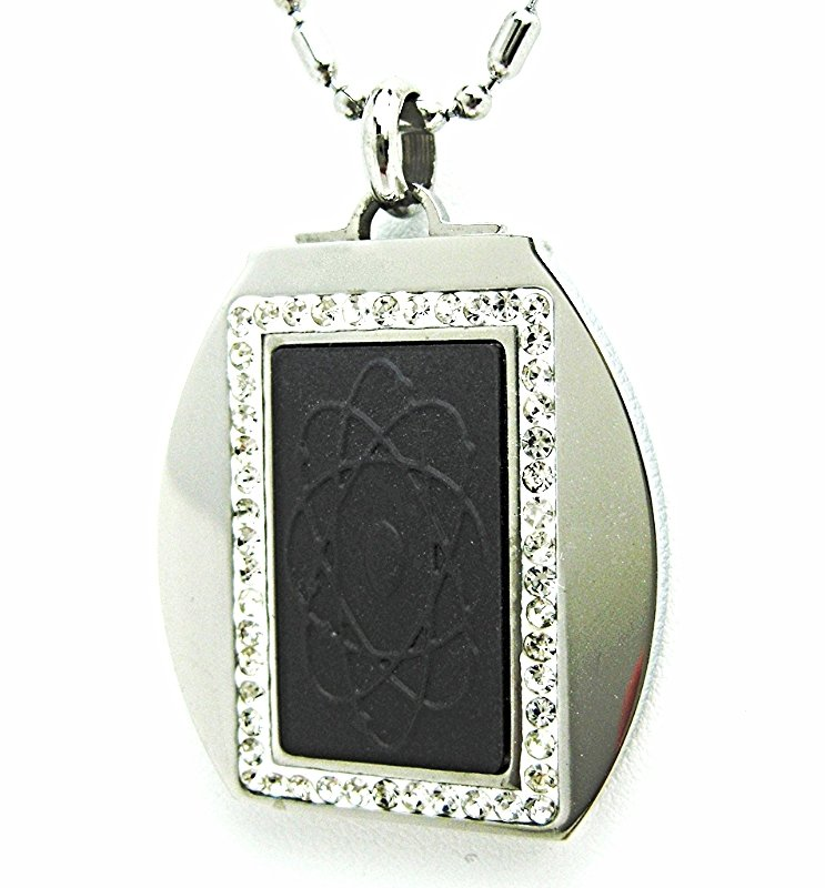 QP-10 Quantum Pendant Rectangular Cz Crystals in Round 316L Stainless Steel