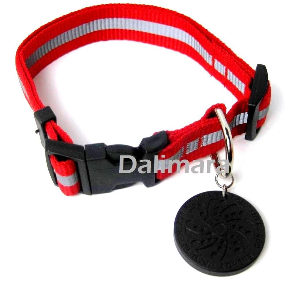 Dalimara Small Reflective Pet Collar & Nano Q Pendant - Red