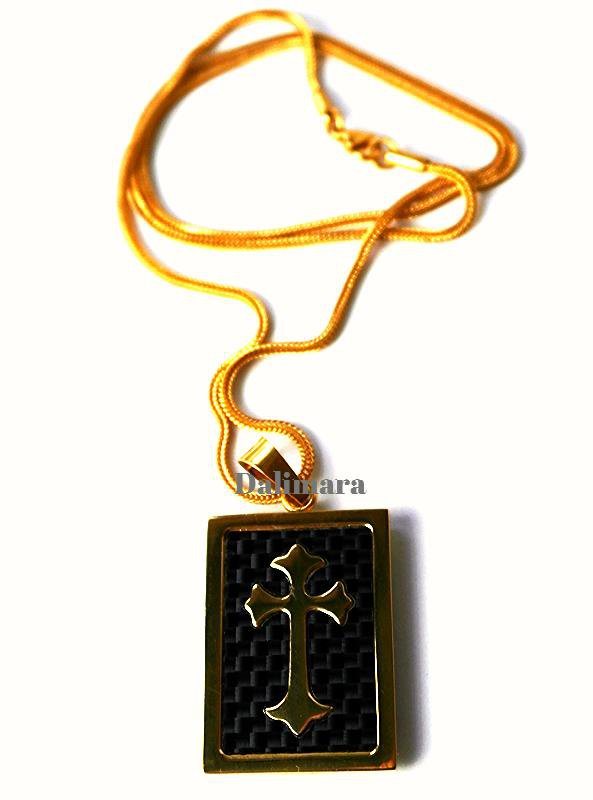 "QP19 Dalimara Magnetic Pendant Gold Cross Dog Tag with 23"" Chain"