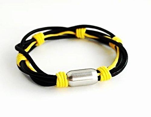QBL7 Dalimara Leather & Stainless Steel Surfer Magnetic Bracelet Multi-strand