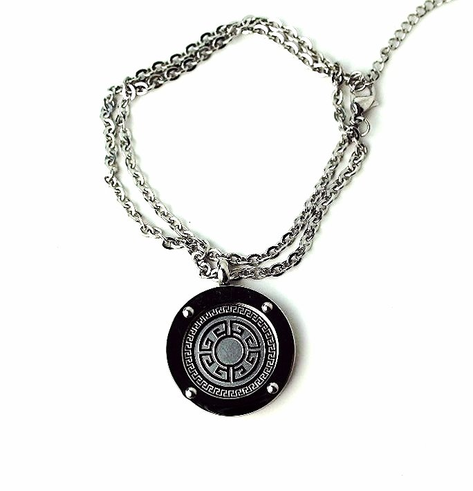 QP30 Stainless Steel Magnetic Greek Key Design Necklace
