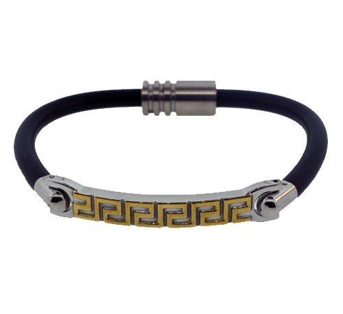 QB13 Dalimara Woven Leather & Stainless Steel Magnetic Bracelet Black