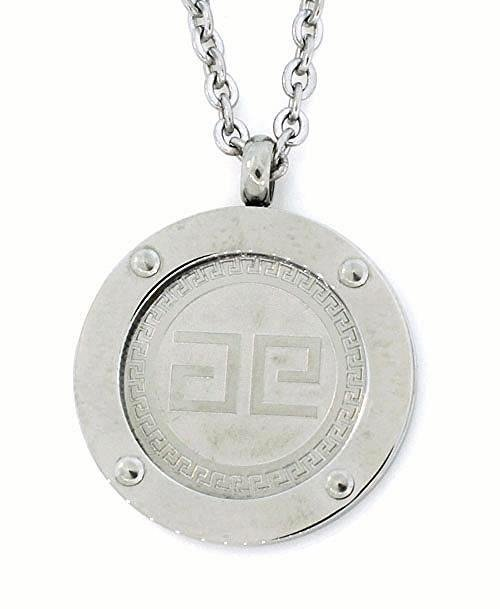 QP31 Shiny Stainless Steel Magnetic Greek Key Design Necklace