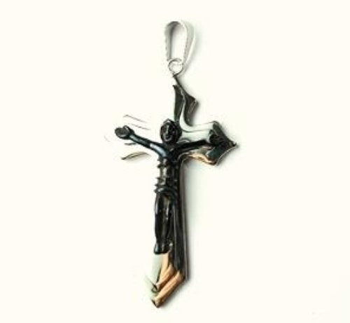 QC31 Dalimara Energized Cross Magnetic Pendant 2-Tone with Energy chips