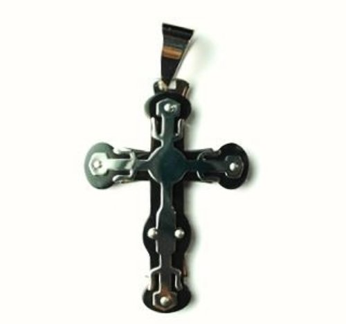QC36 Dalimara Energized Cross Pendant 2-Tone 3-Layer with Crystals Energy chips