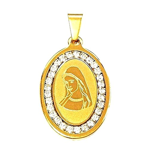 QR4 Blessed Virgin Mary Oval Energy Pendant with Cz Crystals