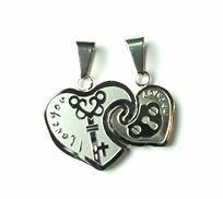 QL1 Couple's Pendant Lock & Key Inside Heart Shape I LOVE YOU