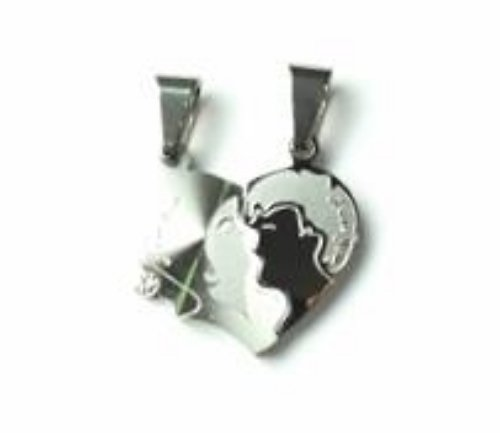 QL3 Couple's Pendant Two Faces Kissing Heart with Crystal