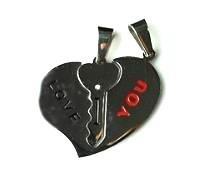 QL4 Couple's Pendant I LOVE YOU Heart Inside Key Crystal
