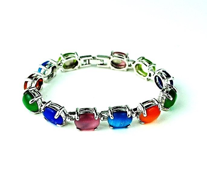 QB56 Long Life Prosperity Multi-colored Jade Quantum Bracelet Oval