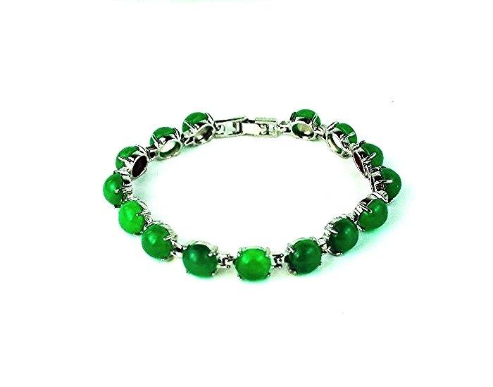 QB54 Goodluck Strength Green Jade Quantum Bracelet Round